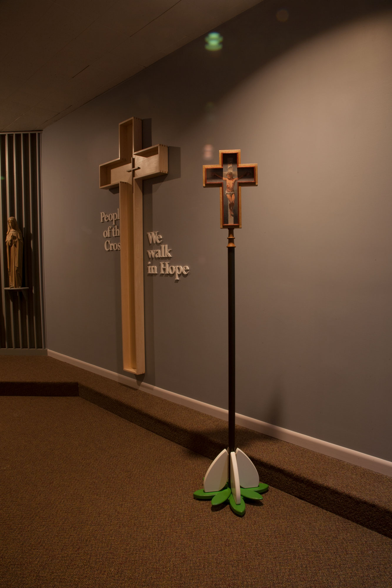 Msgr. O'Dwyer Retreat House: processional cross and wall display dedicated to Mark D. Pacione