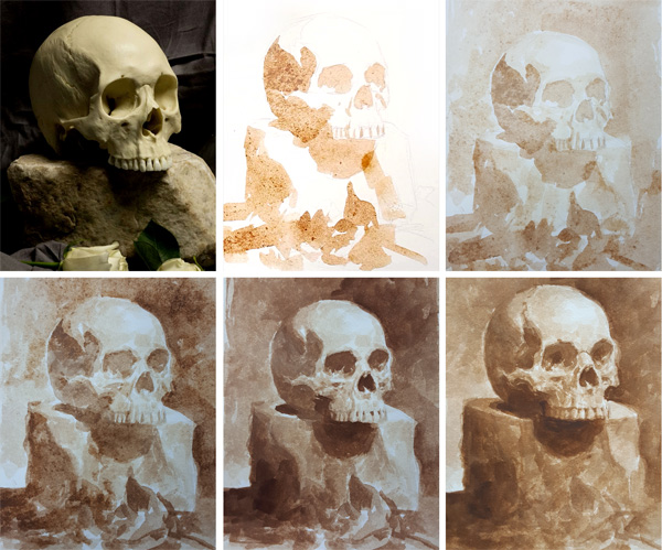 Tonal painting process in Burnt Umber by Chris Legaspi
