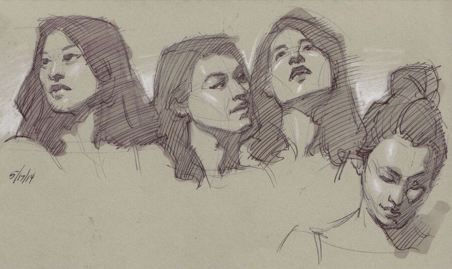 5 min poses from life, ballpoint pen and marker on toned paper.