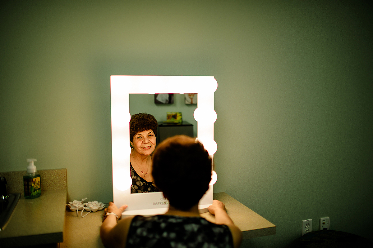 """My mother modeling in the bridal """"getting ready"""" room."""