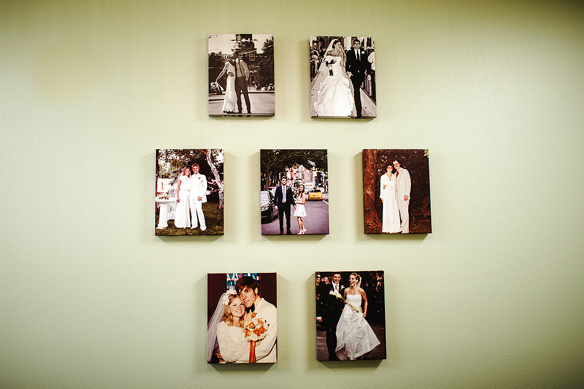 A $500 donation gets your wedding photo commemorated on the bridal room wall.