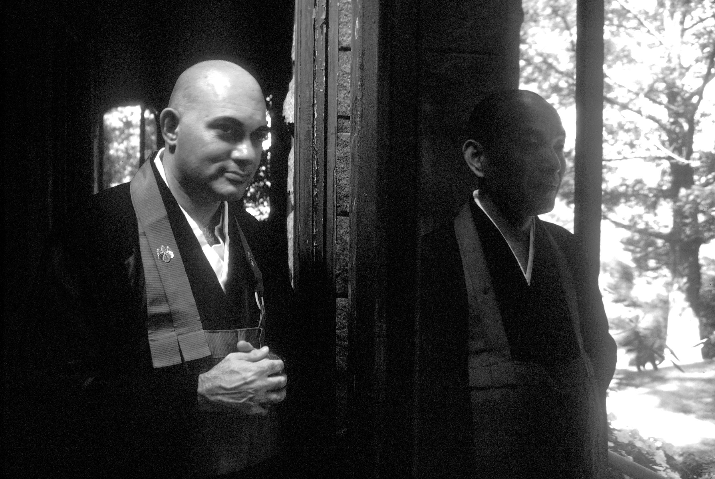 "Bernie ""Tetsugen"" Glassman Sensei with his teacher Maezumi Roshi at The Zen Center of New York in Riverdale, 1980"