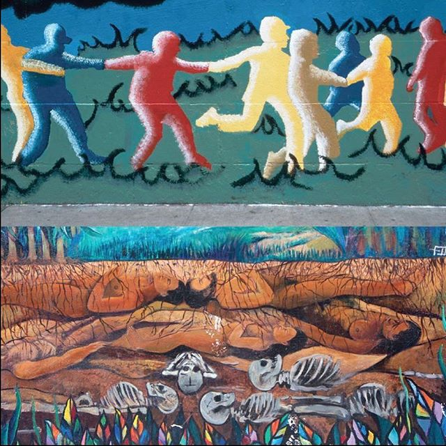"Our ancestors lie still beneath our dancing feet. But don't fret, keep dancing, they need us up here to keep the beat.⠀ ⠀ The Lower East Side in NYC and The Mission in San Francisco.⠀ ⠀ From, ""THE LAND OF THE LIVING"" (see the ""mythology"" section in the bio link)⠀ ⠀ #missionmurals #ancestors #lowereasttside #petercunninghamphotography #lifeanddeath #death #dancing #dancingongraves #play #afterlife  #diptychs #diptych #petercunninghamphotography #all_shots #lessismore #photoart #photographyeveryday #photographylovers #photographyproject #storyteller #storytellingphotography #visualstorytelling #artphotography"