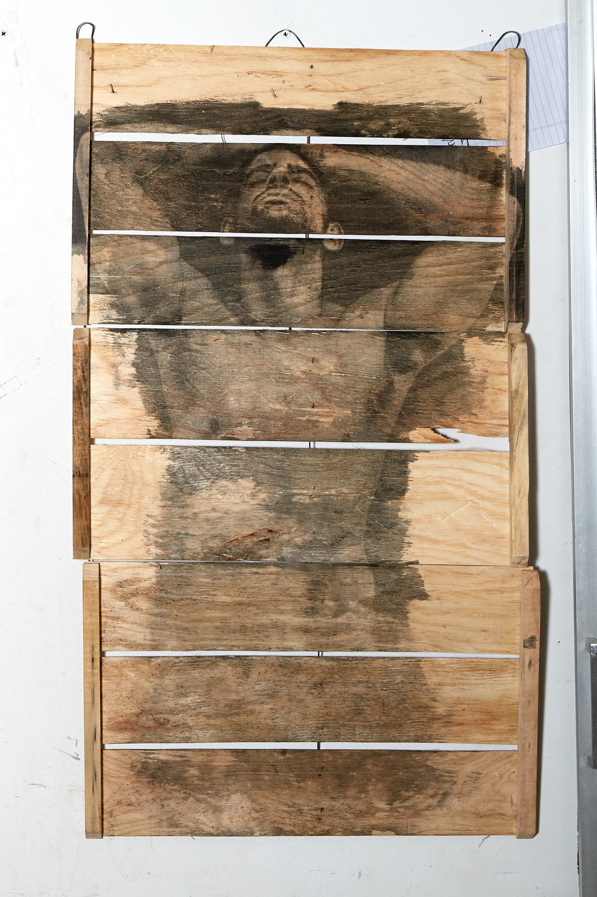 Vulnerable  3' long  Single Edition (#1 of 1)  Prompts gay thought in 9/10.  Liquid Emulsion Painted on Wood Slats  Ingredients: Photo (One Widow x frankenstudio) Print (Expired Black Magic, Ethenol, Proprietary Chemical Blend & Process, produce transport box)