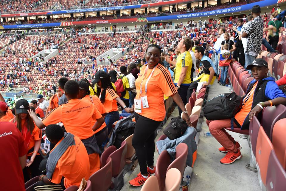 Pictured: Dorcas     watches the Russia v Spain game on her recent trip to the FIFA Foundation festival in World Cup host city, Moscow.