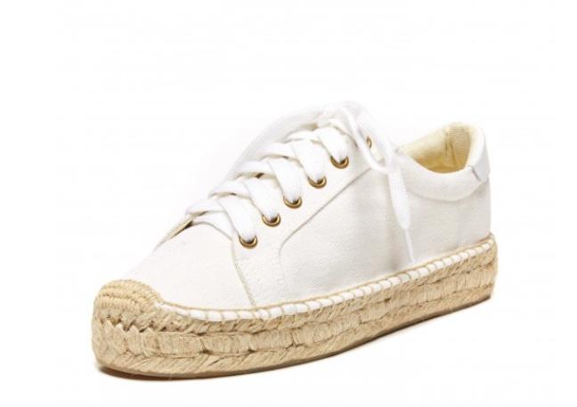 Solids White Canvas Platform Sneaker