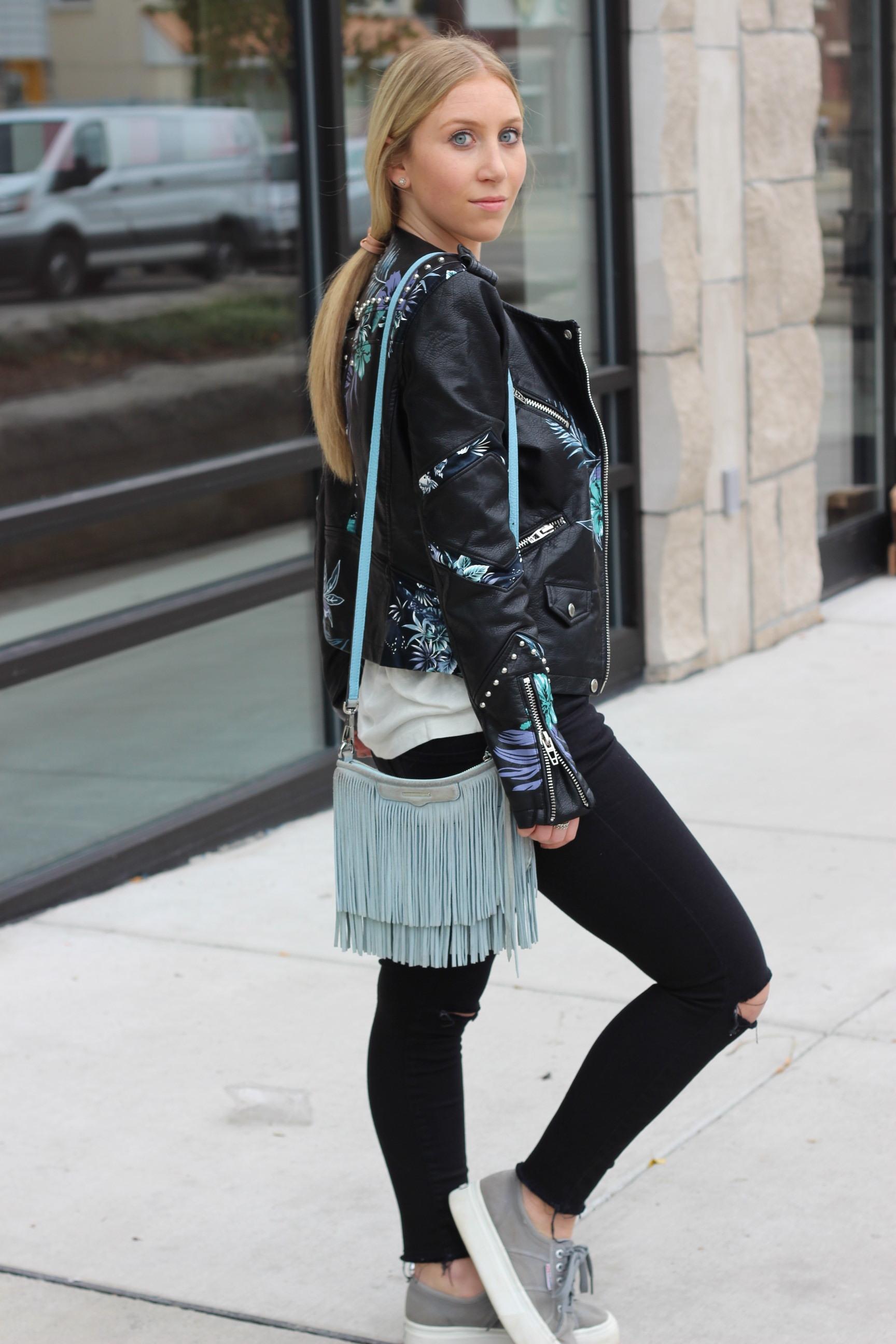 Floral leather jacket black jeans platform sneakers fringe bag Au Courant Life