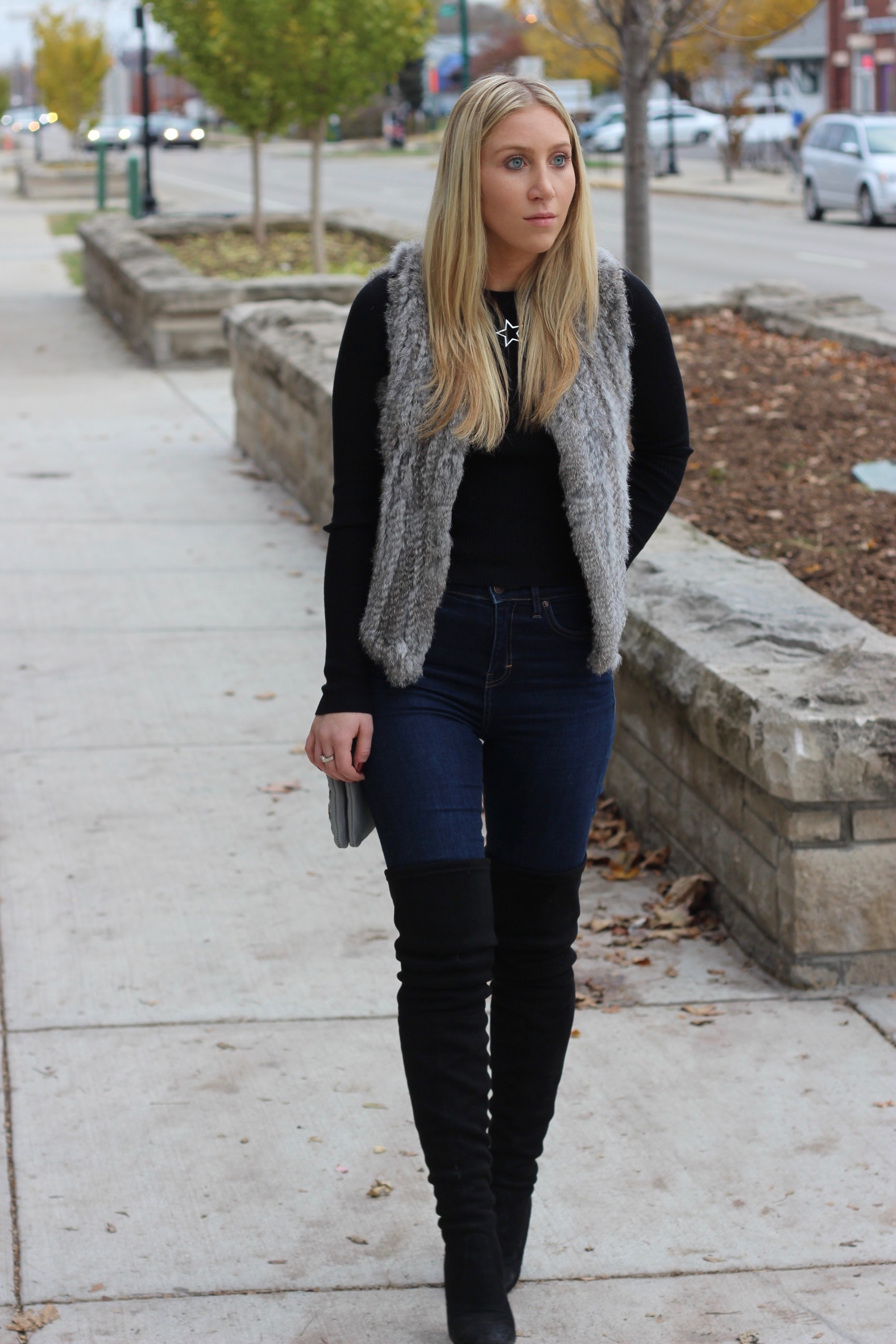 Thigh high boots and fur vest for Fall by Au Courant Life