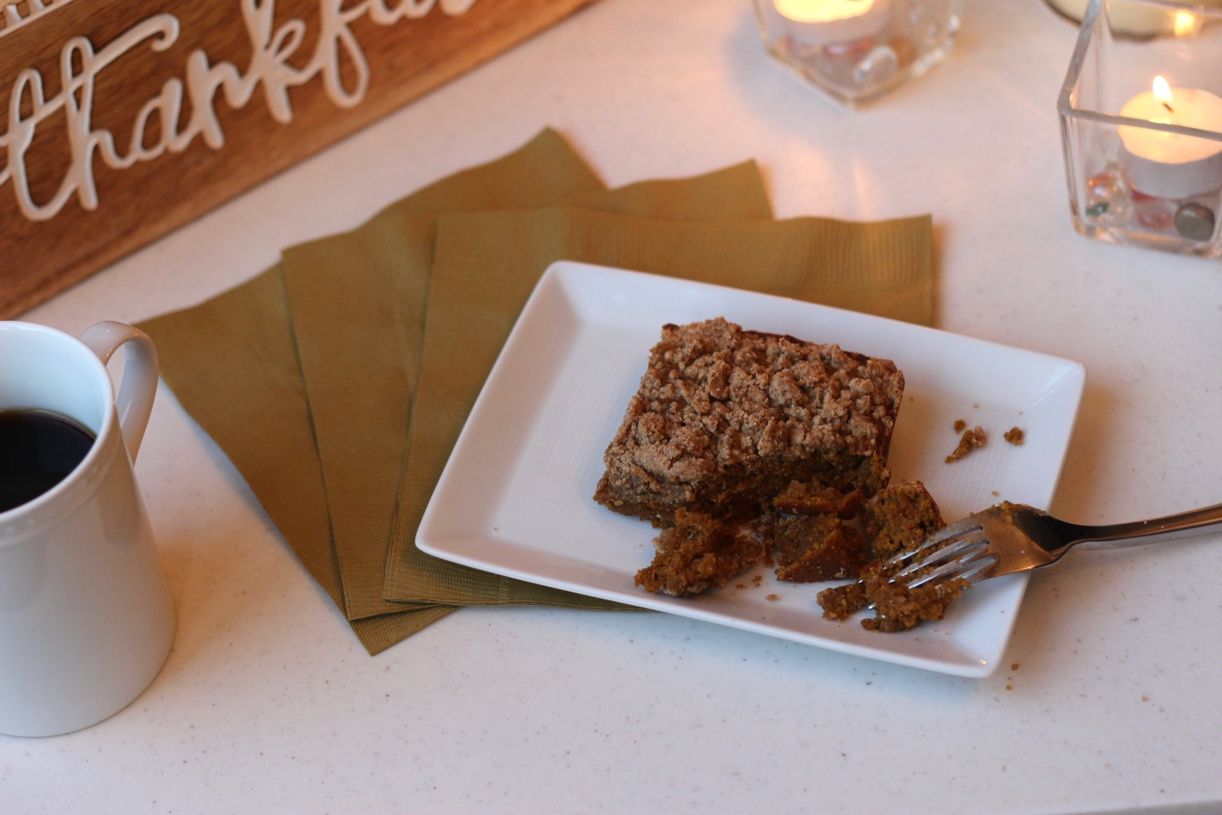 Clean and easy pumpkin coffee cake recipe by Au Courant Life