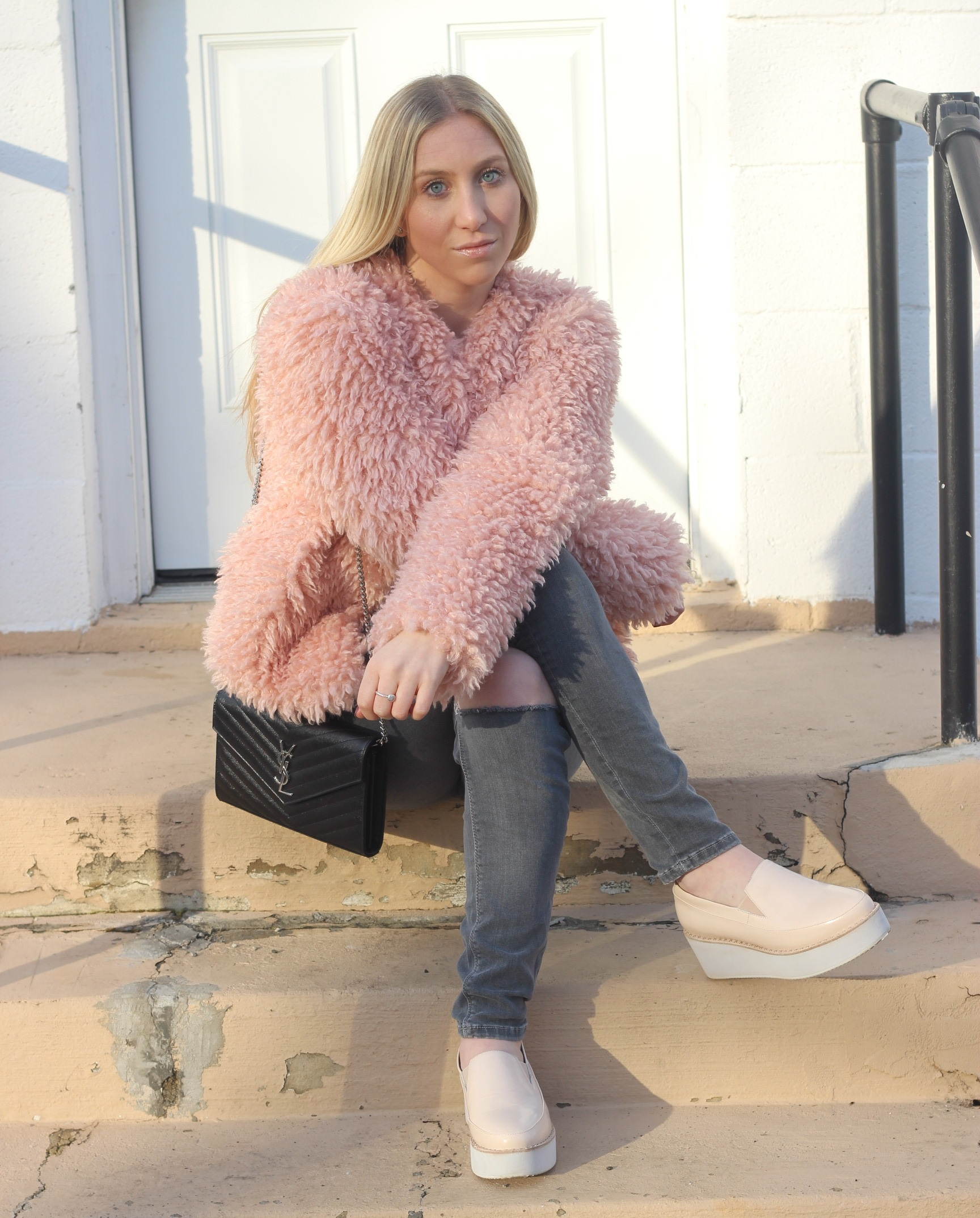 Au Courant Life blush faux fur jacket grey ripped jeans sol sana slide wedge