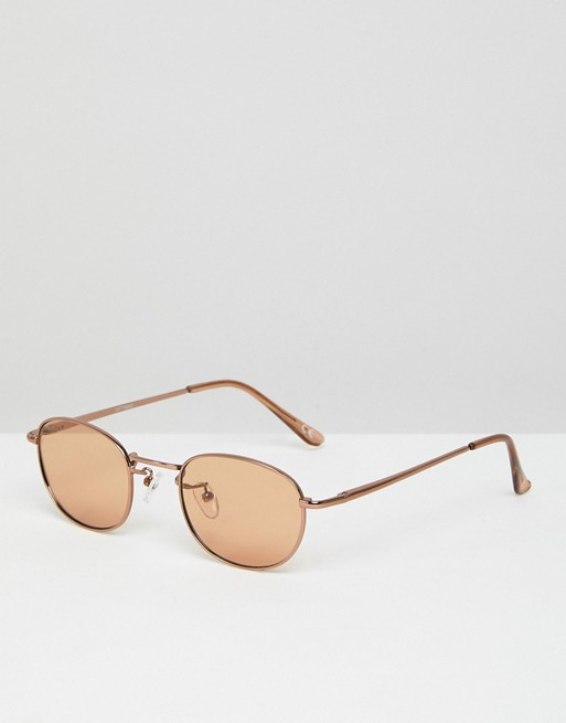 ASOS 90S Oval Fashion Sunglasses in Light Brown Lens