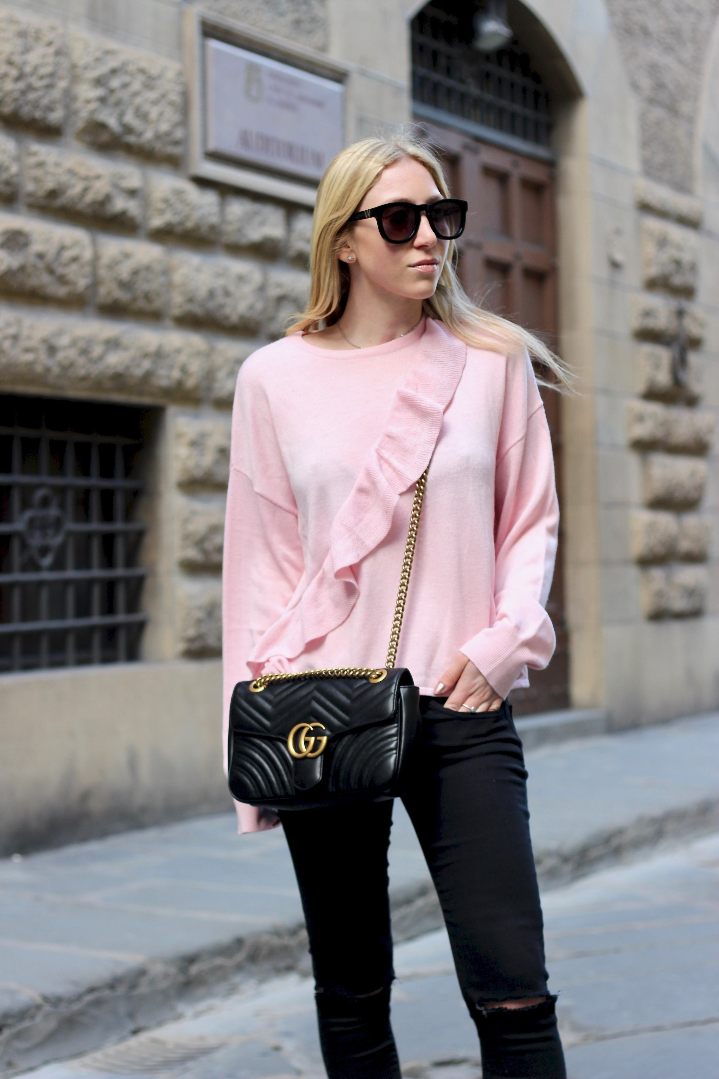 Gucci maramont bag and pink ruffle shirt for valentine's day by Au Courant Life