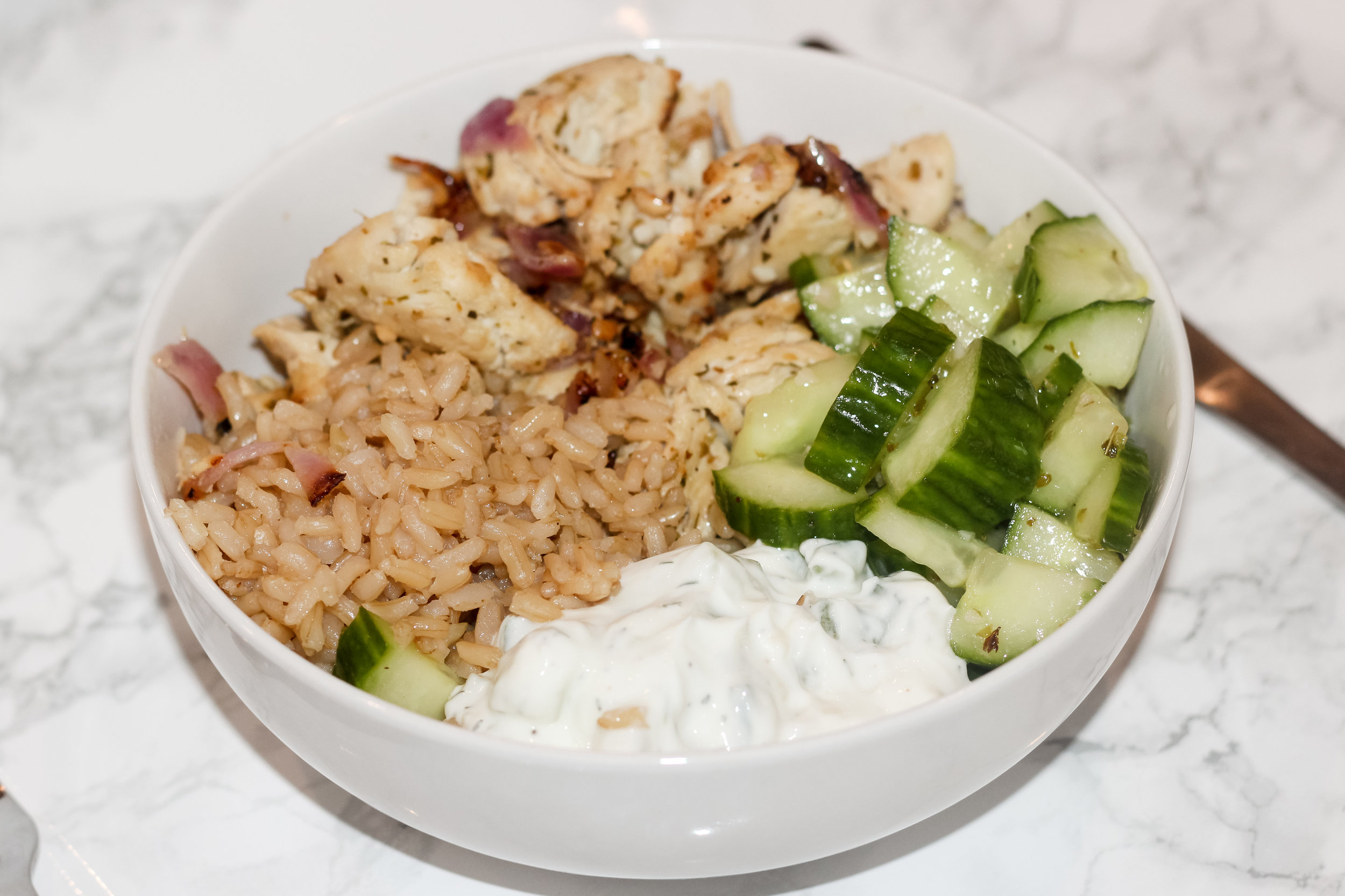 healthy and easy greek chicken bowl recipe by au courant life