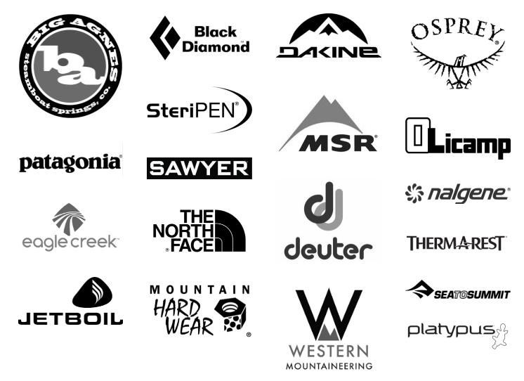 Our camping and backpacking gear brands include, Big Agnes, Patagonia, Black Diamond, Dakine, Osprey, SteriPEN, MSR, Olicamp, Sawyer, The North Face, Deuter, Therm-a-Rest, Sea to Summit, Platypus, Western Mountaineering, Jetboil, Eagle Creek and more.