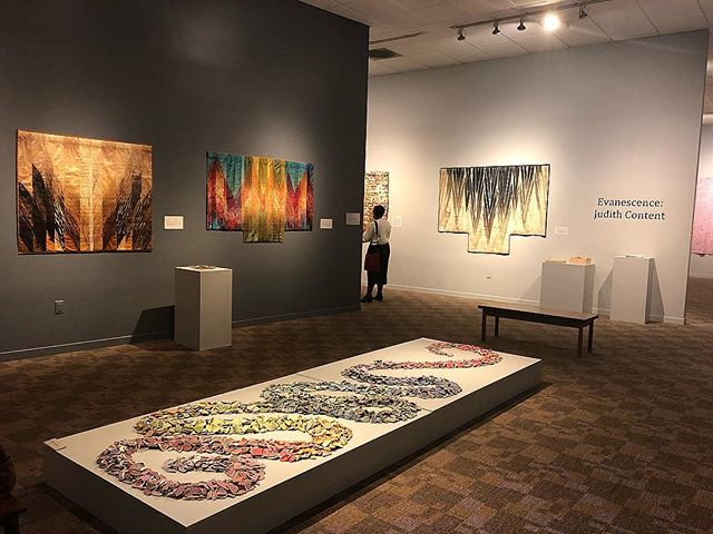 """""""Evanescence"""" opened this afternoon along with ITAB (International Techstyle Art Biennial IV) at the San Jose Museum of Quilts and Textiles. What a gathering it was!! Parking was in short supply due to @comic_con but hey, this is Silicon Valley. Heavy rain and cartoon characters are no match for lovers of #textiles #cloth #fiber #quilting #weaving #collage and #surfacedesign @sjmqt @surface_design @saqaart"""