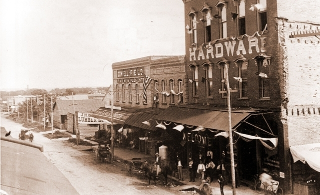 On the square: Westbound on Virginia Rd. Circa 1880