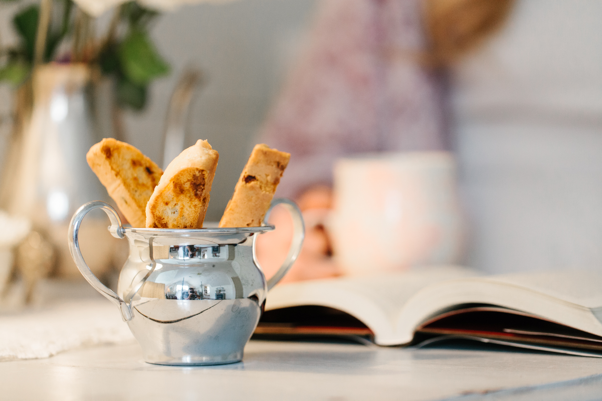 Homemade biscotti, every morning. Just another reason to take up coffee-drinking.