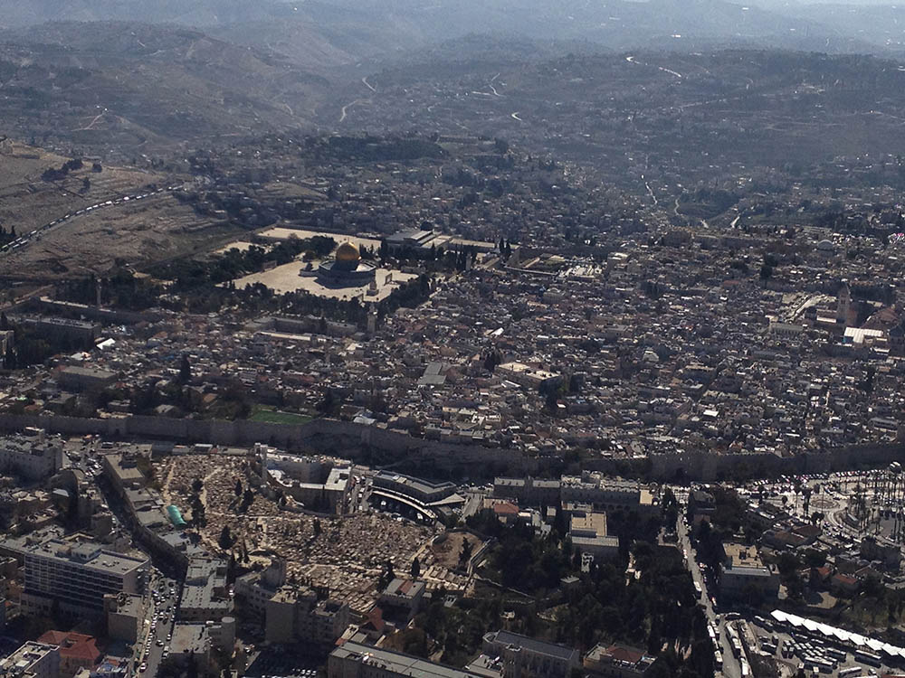 Jerusalem seen from the air. Photo © and courtesy Cookie West