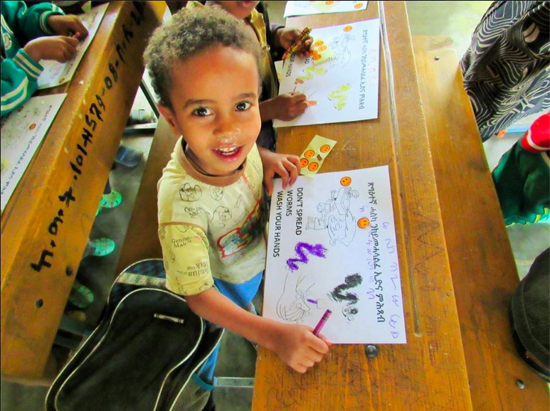 A child learns about the importance of hand washing in a NALA Foundation workshop in Ethiopia. Photo courtesy Sahar Gamliel / NALA Foundation