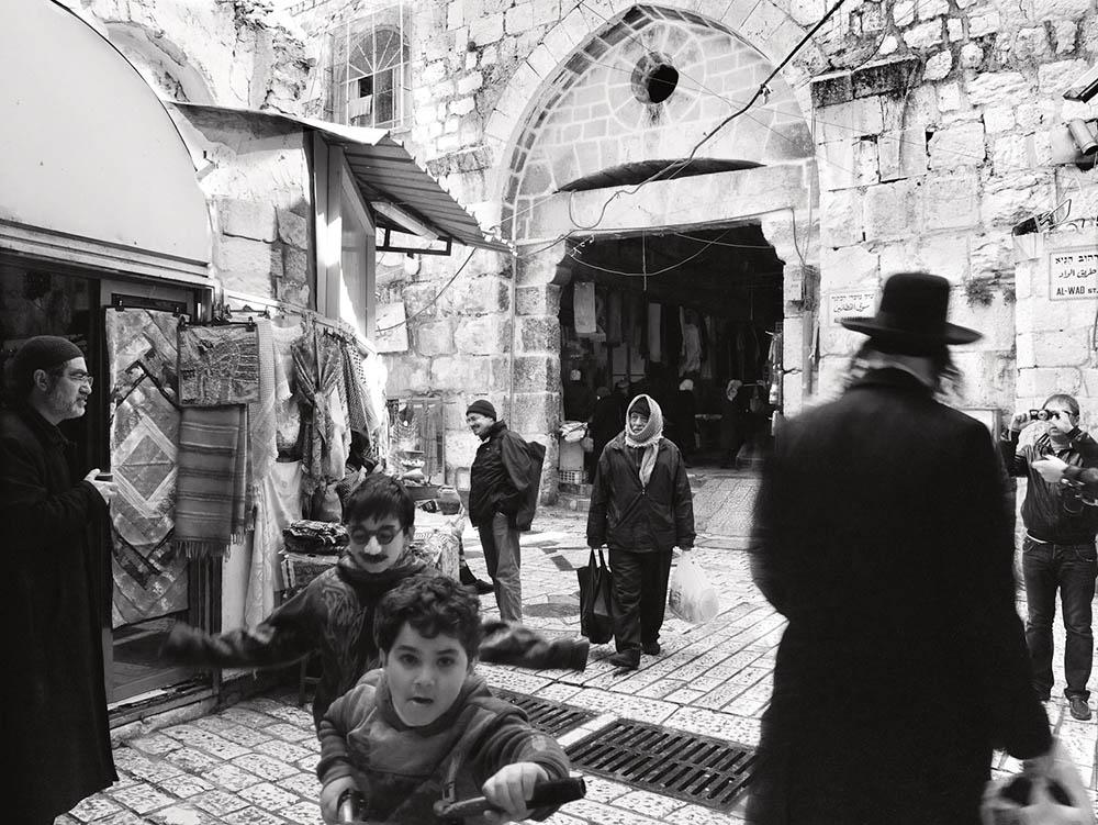 Jerusalem's Old City, Al Wad. Composite photograph by Neil Folberg