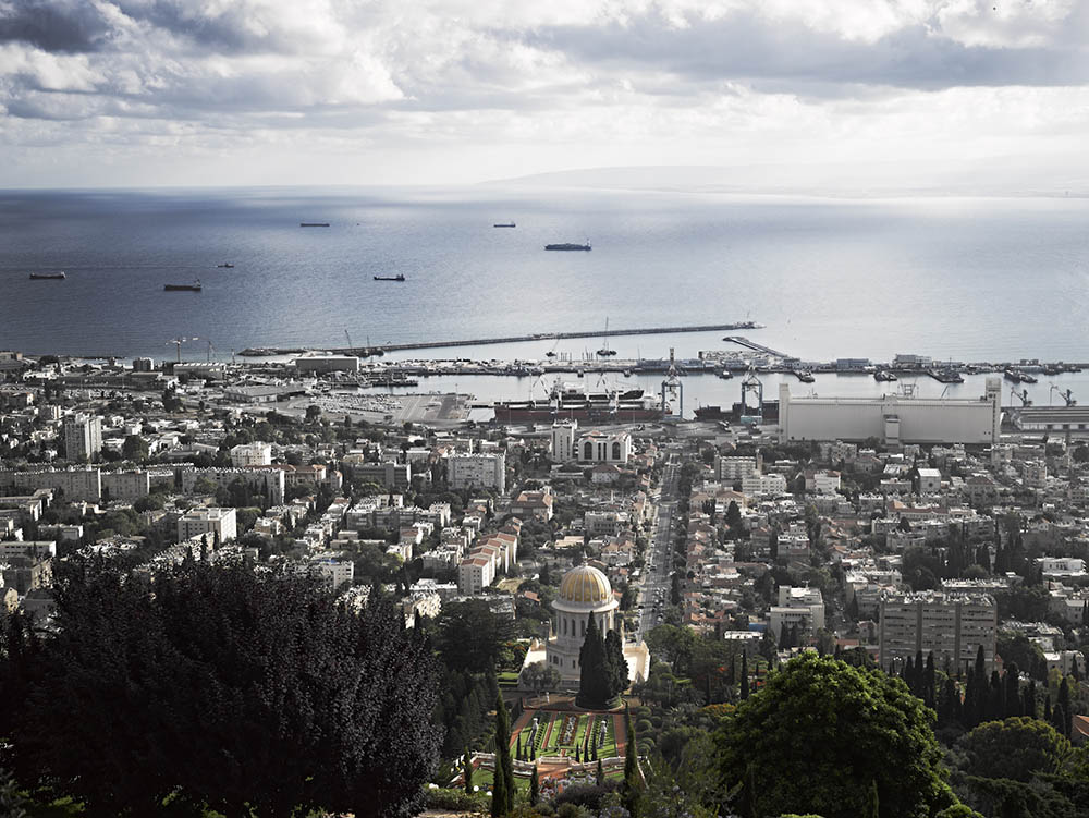 Vista of Haifa's port from the top of the Baha'i Gardens. Photo by and © Vision Studio