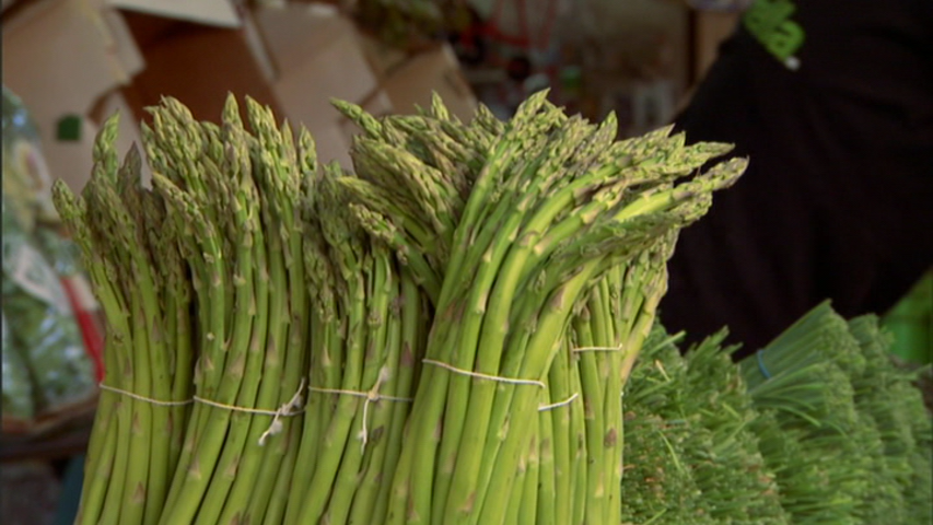 Asparagus in an open air market in a still from the film  The New Cuisine of Israel.