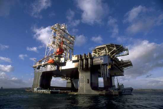Noble Energy and Transocean's rig in the Tamar gas field. Photo courtesy Transocean Ltd. via  Creative Commons License .