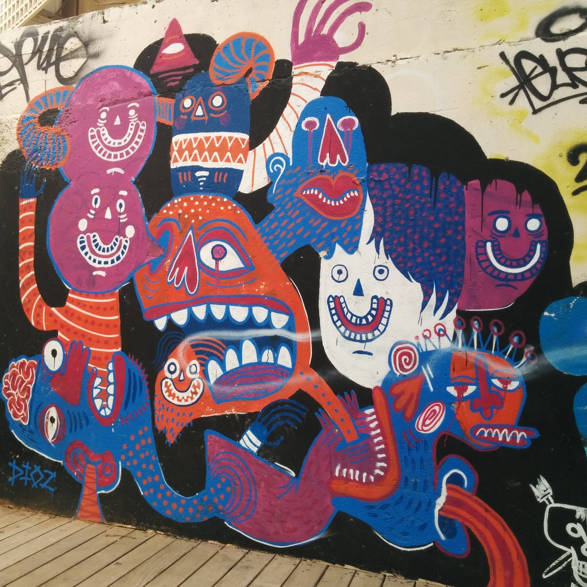 DIOZ's bold murals cover entire walls of Tel Aviv's Florentin neighborhood. Photo by Abigail Klein Leichman