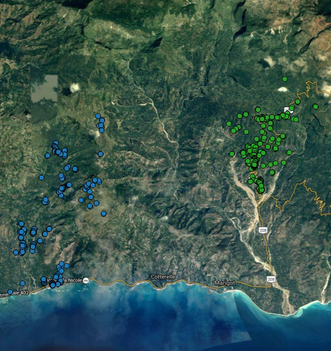 GPS locations of all usage data collection activity in a program, color coded by community.