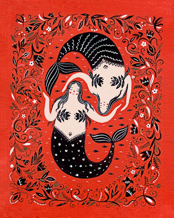 Mermaid Best Friends - card<Br> Red Cap Cards