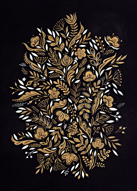 Golden Floral Motif