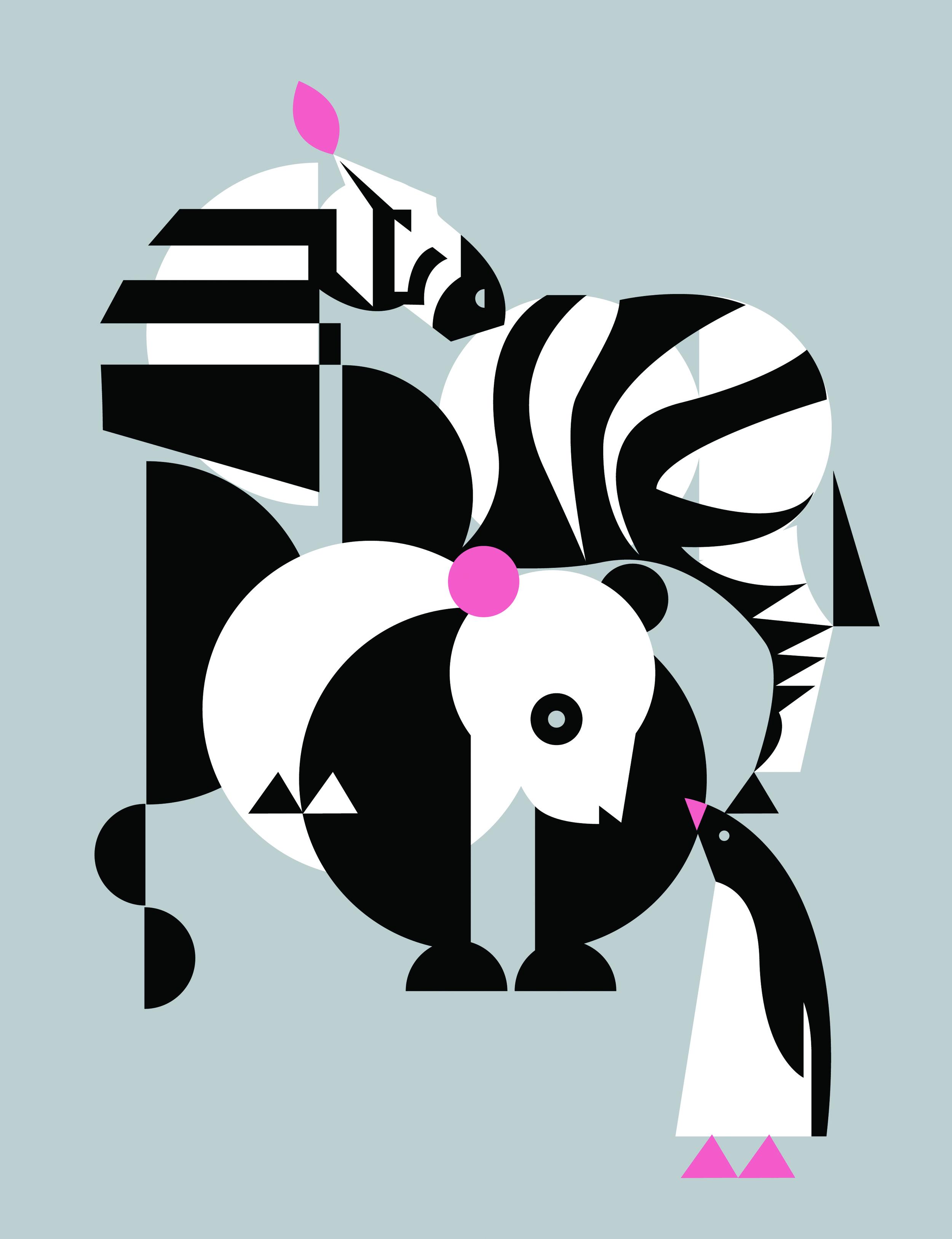 Wild Panda, Zebra, and Penguin <br> Ruth Schmuff