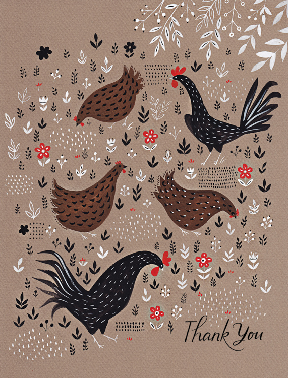 Thank You Chickens - card <br> Red Cap Cards