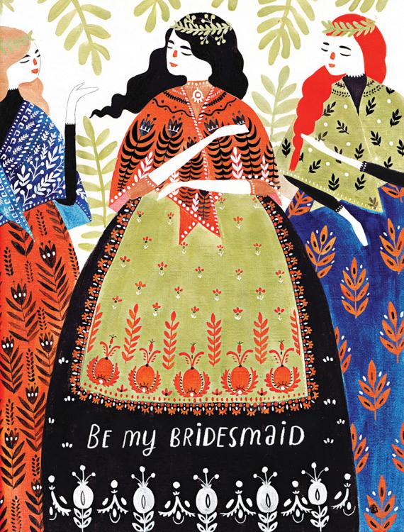 Bridesmaids - card <br> Red Cap Cards