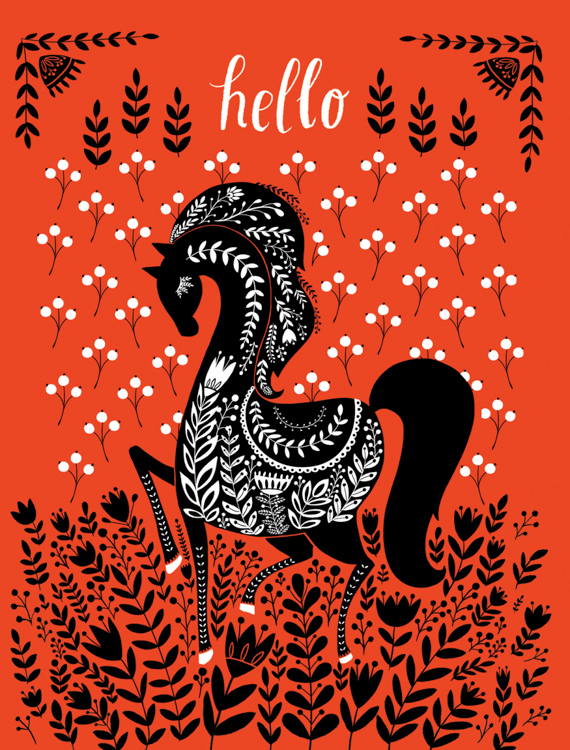 Hello black pony - card <br> Red Cap Cards