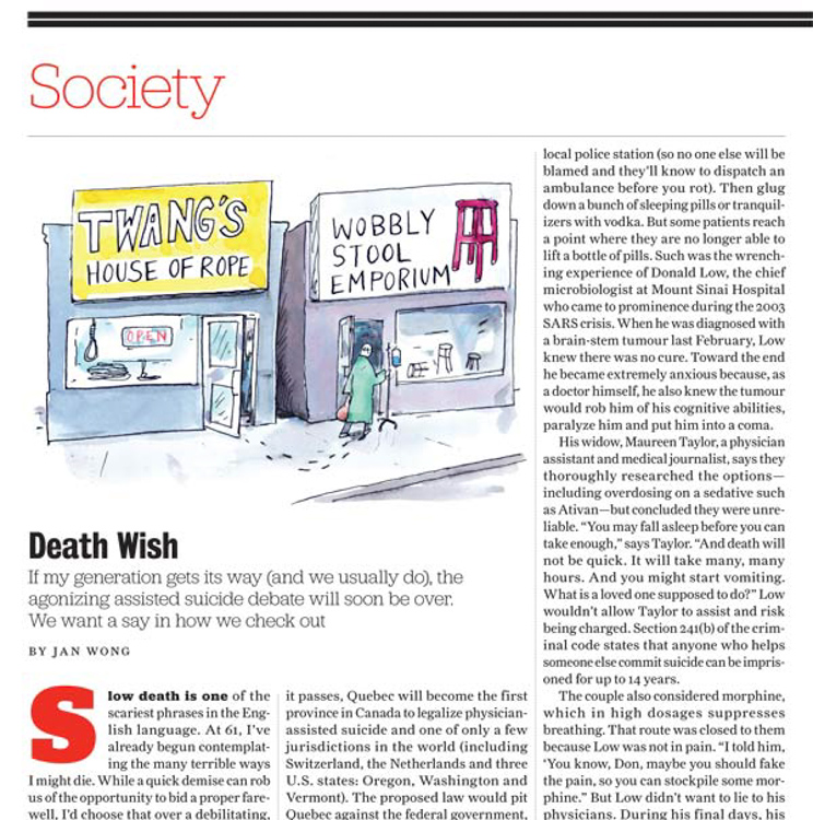 Assisted Suicide Debate <Br> Toronto Life