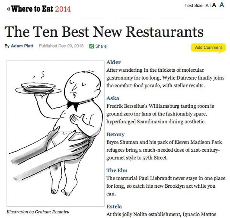 Best New Restaurants <br> New York Magazine