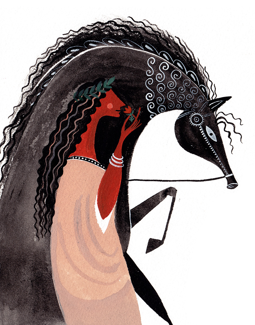 Roman Woman with a black horse