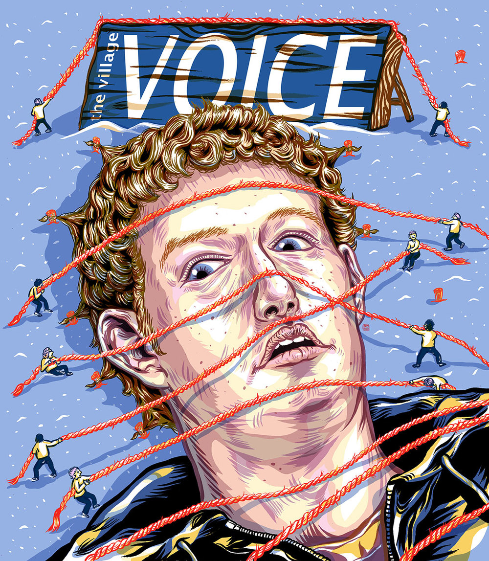 AI 31 2012 - ARTIST: Jungyeon RohTITLE: Mark Zuckerberg CoverCLIENT: The Village Voice