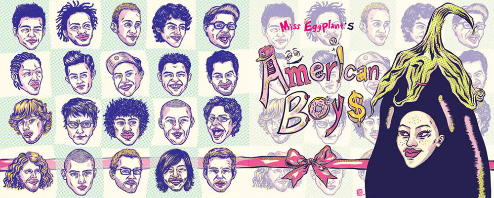 ADC 90 2011 Gold, SOILA 48 Silver, Print 2011, SOI 53 2011, AI 30 2011, CQ 22 - ARTIST: Jungyeon RohTITLE: Miss Eggplant's American Boys [1 of 15]