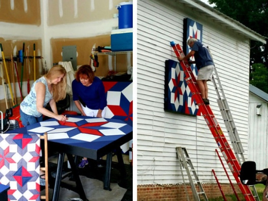 Left: Chloe and artist working on her painted quilt. Right: Hanging the quilt, piece-by-piece.