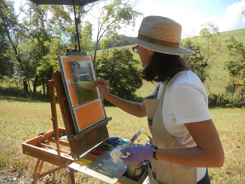 Elizabeth Sauder paints en plein air