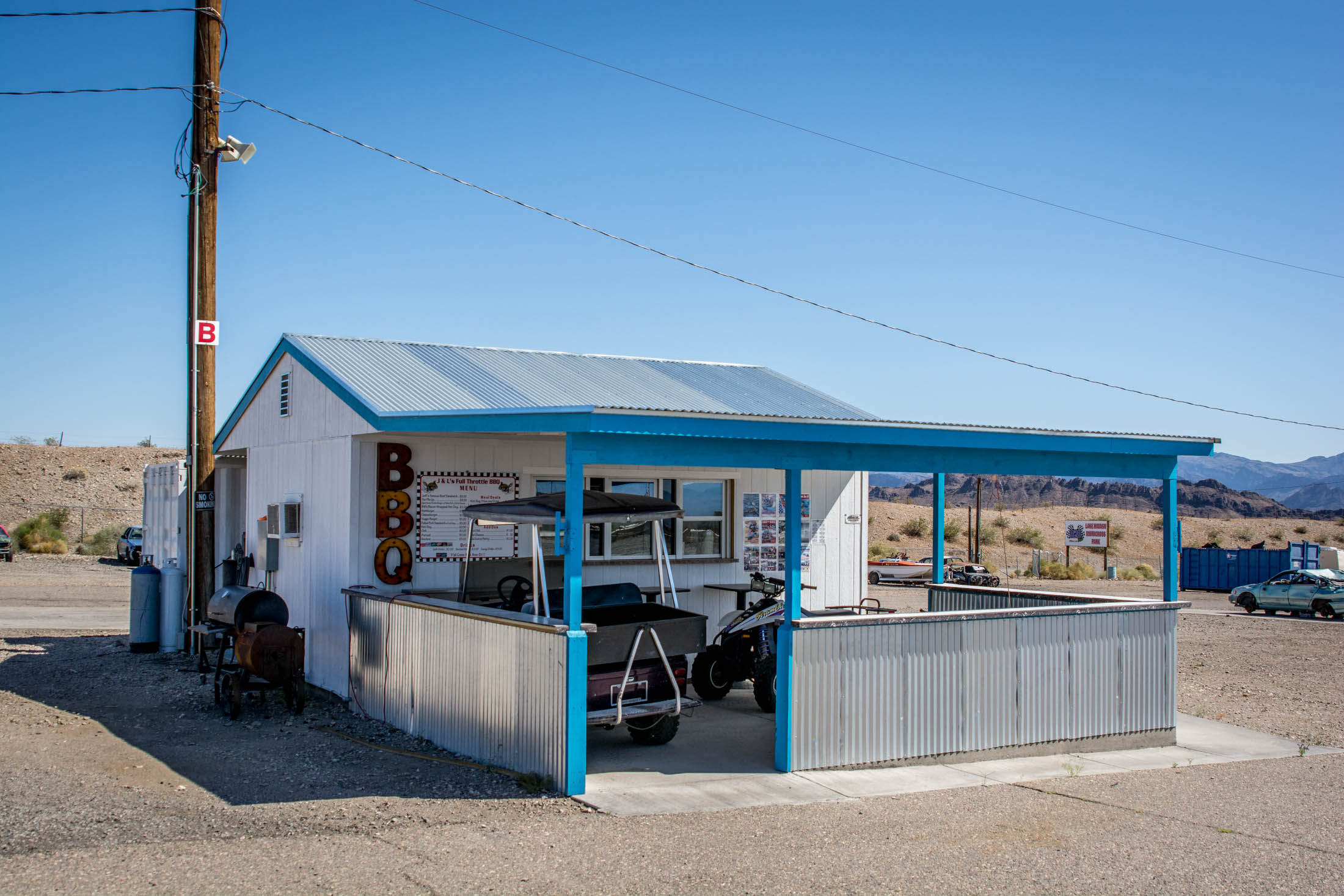 Our pit area concession stand, operated by J&L Full Throttle BBQ.