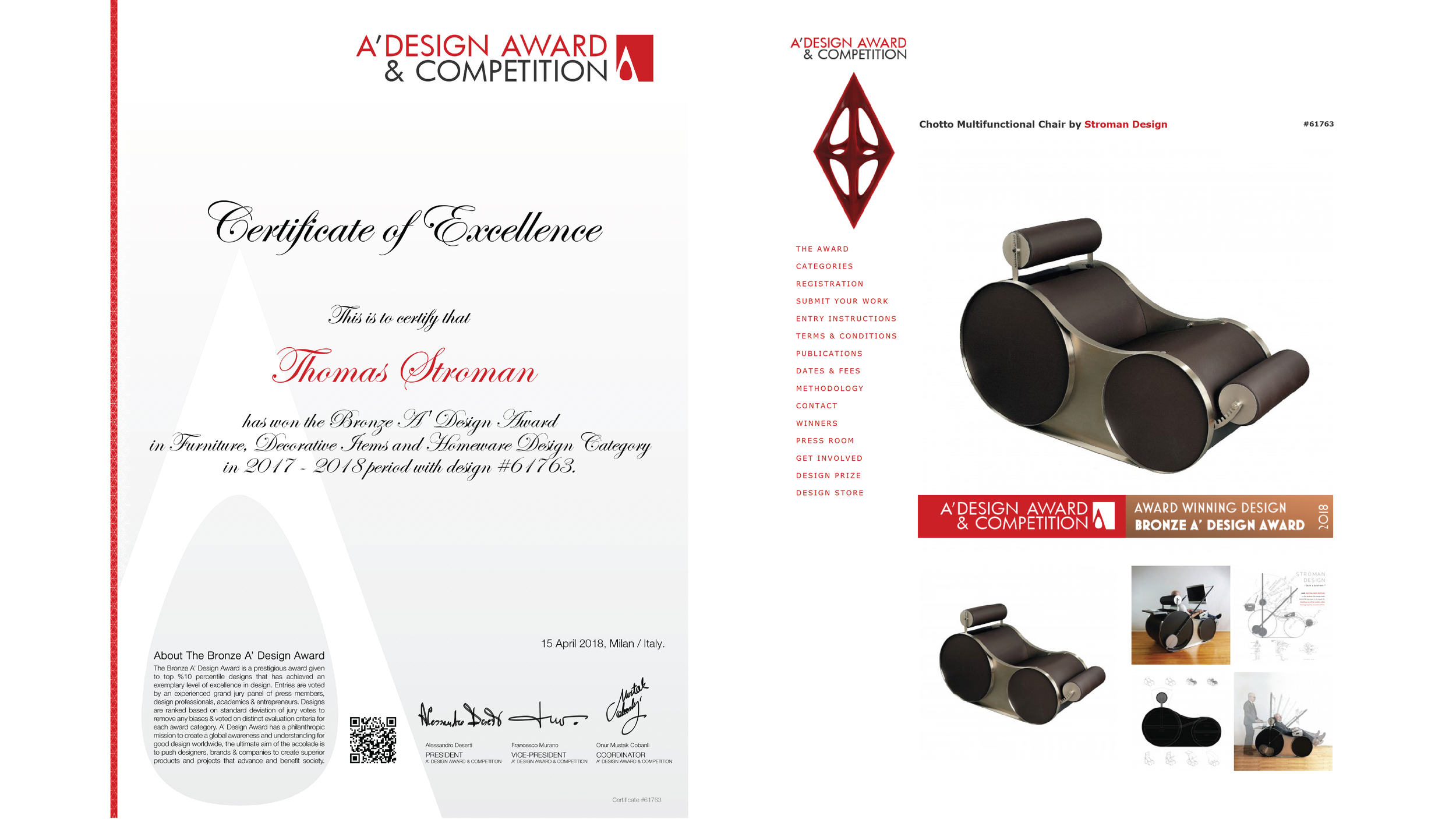 """A""""Design Award Announcement for Stroman Design Entry Chotto™ : Multifunctional Chair 2017-2018 ( April 15, 2018 )"""