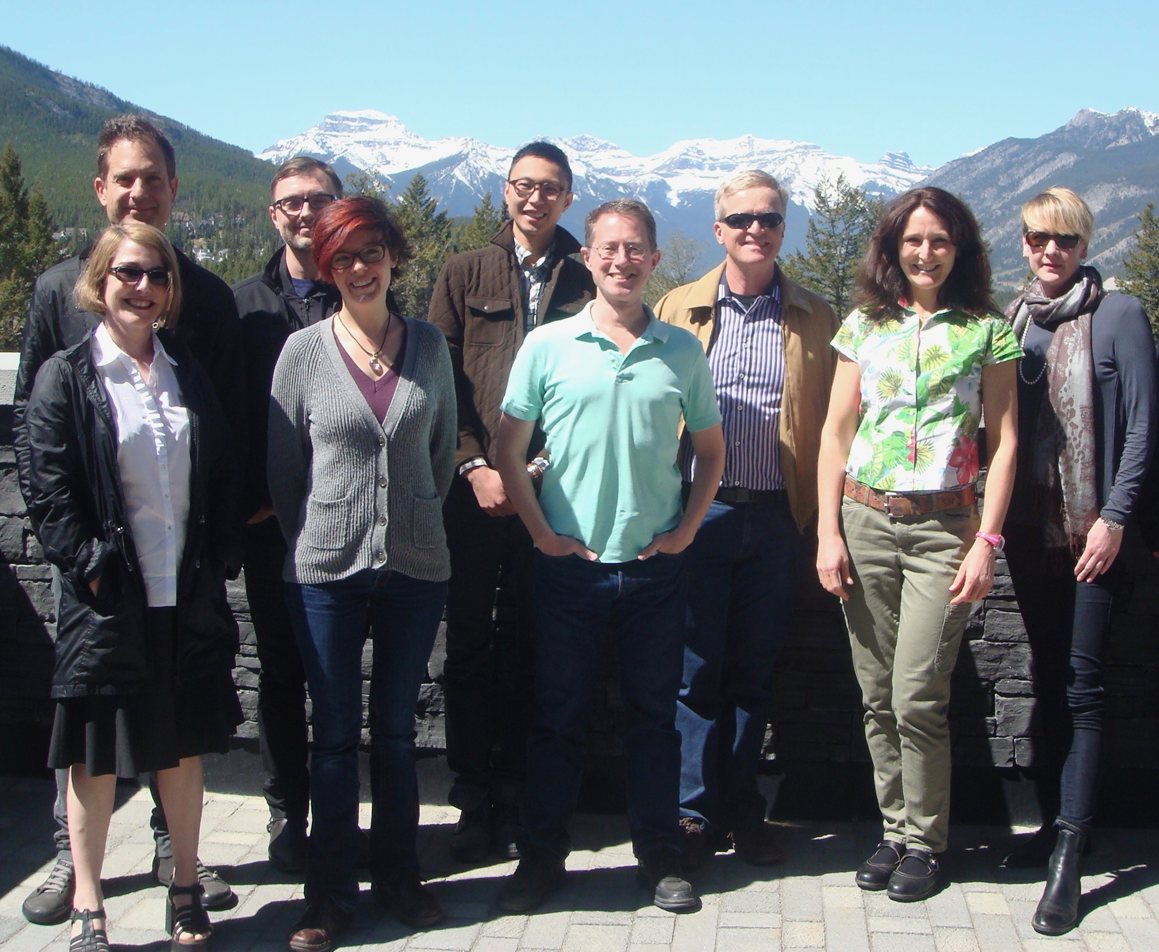 """Artifacts and Metaphysical Explanation"" Workshop, Banff Centre, 17-20 May 2015  BACK ROW (left to right): Ori Simchen (UBC), Mike Raven (UVic), Ka-Ho Lam (UofA, PhD student), Jack Zupko (UofA), Kathrin Koslicki (UofA), Margaret Cameron (Melbourne), FRONT ROW (left to right): Jessica Wilson (UofT), Carrie Jenkins (UBC), Phil Corkum (UofA)"