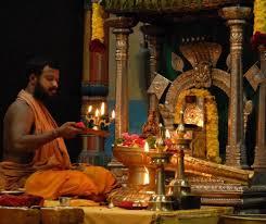 Amma doing daily narayani pooja in shanti mandapam