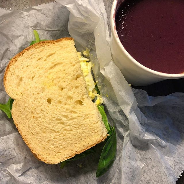 Perfect way to wrap up a rainy afternoon of #shoppingsmall. Warm purple potato soup and basil egg salad on toasted sourdough. So so good.