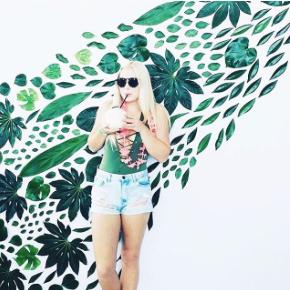 leaf photo wall