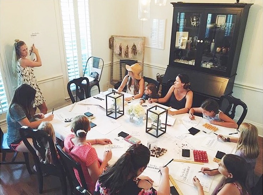 brush lettering class for moms and their littles
