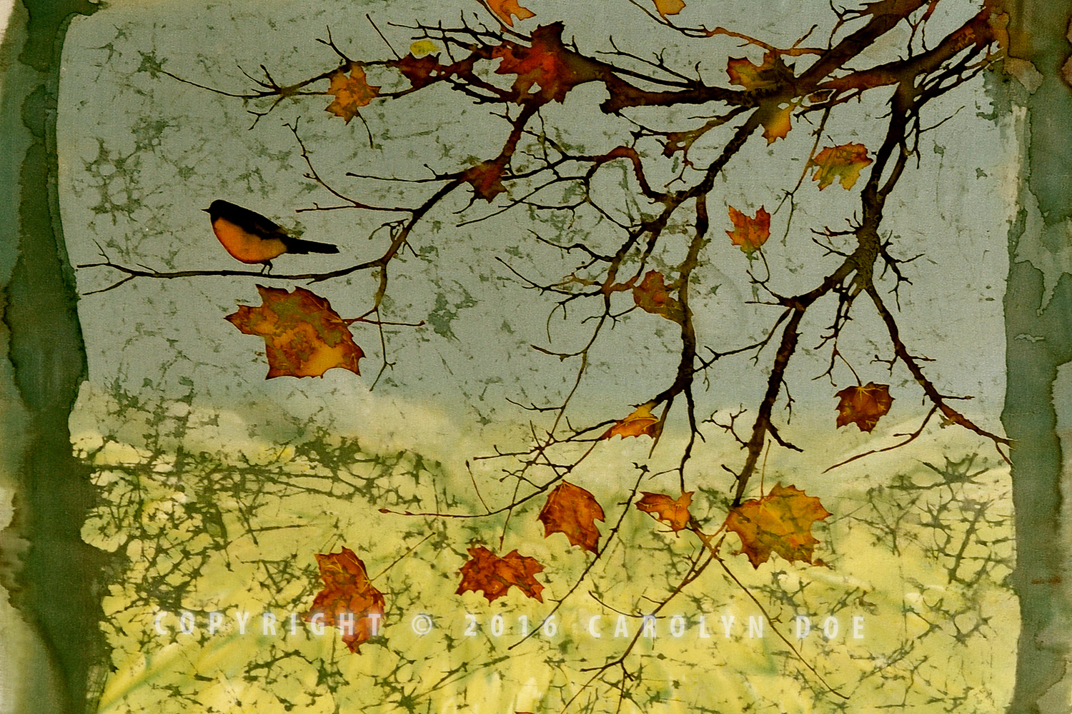 Batik Bird and Fall Leaves